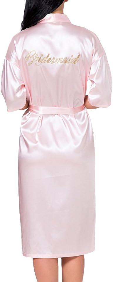 Damen Seide Satin Bademantel Braut Brautjungfer Kleid Hochzeit Kimono Bademantel