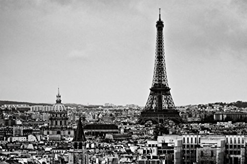 View of The City Eiffel Tower Paris France Black and White B&W Photo Art Print Poster 36x24 inch
