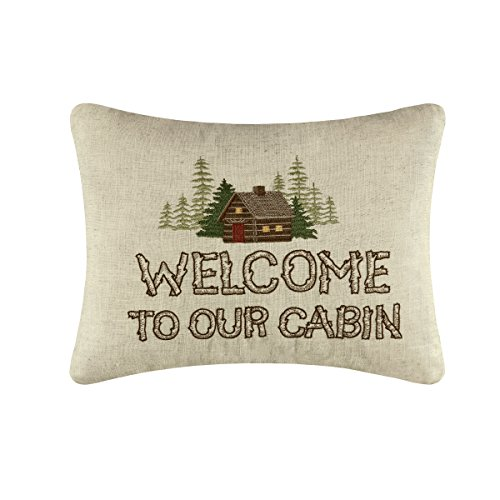 Welcome to the Cabin Embroidered Pillow 14 x18