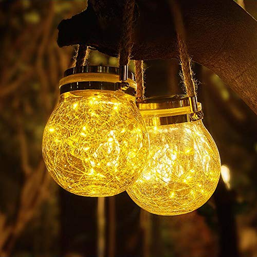 Solar Lanterns Outdoor Hanging Solar Lights 2 Pcs 30LED String Bright Waterproof Crack Glass Decorative Outdoor Warm White Table Decor Fairy Lights for Patio Wedding Christmas Party