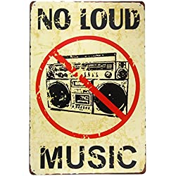 DL-NO LOUD MUSIC Vintage Metal Sign garage signs for men tin art home decor