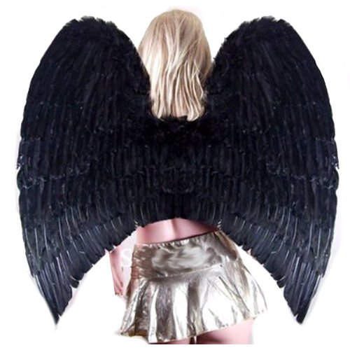 Fallen Womens Costumes (SACASUSA Super XL Large Black Feather Angel Wings for Adult Women and Men Teens)