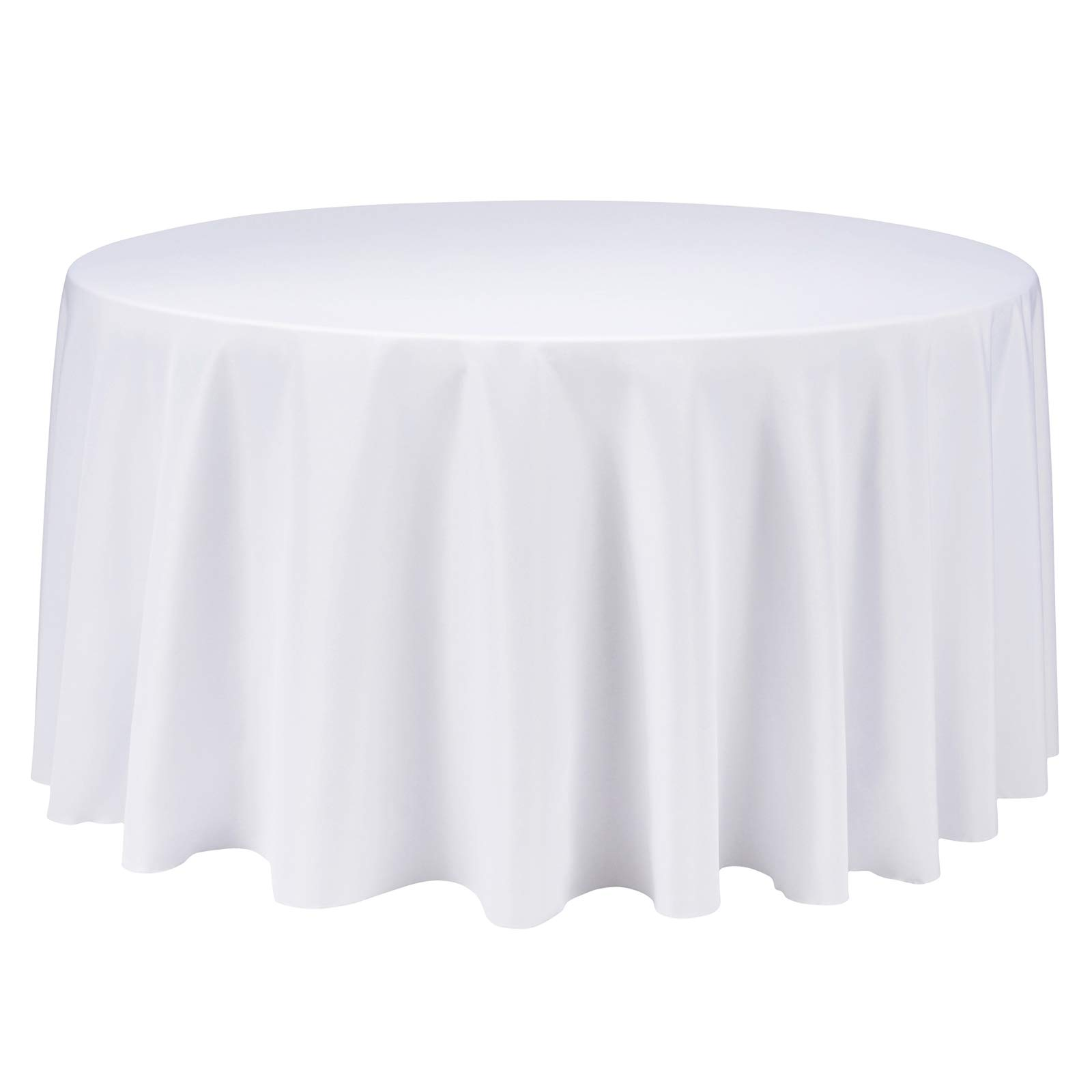 VEEYOO 120 inch Round Solid Polyester Tablecloth for Wedding Restaurant Party Bridal Shower Kitchen Decoration Washable, White