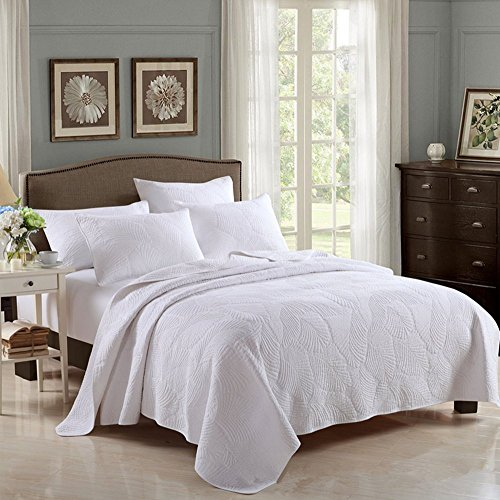 Leaf Sofa 3 Piece (HHNSI 3 Pieces White Quilt Bedspread Coverlet Sets Queen Size, Cotton Comfy Comforter Bedding Sets,Quilt and Sham Sets (White Leaves))