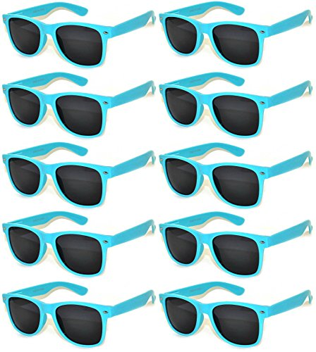 Retro Vintage Glasses Smoke Lens 10 Pack Blue - Blue Framed Glasses