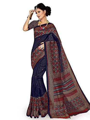 Shonaya-Blue-Cotton-Silk-Printed-Saree-with-Unstitched-Blouse-PieceFree-Size