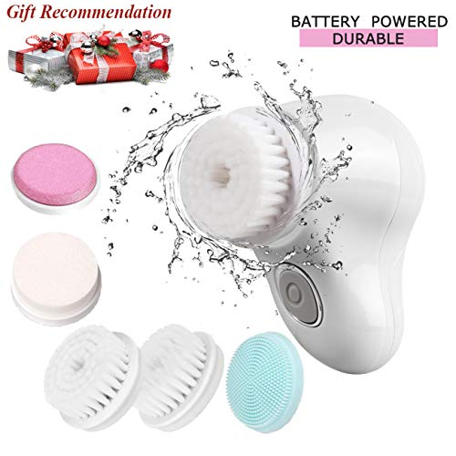 Facial Cleansing Brush 5 in 1 Face Brush Scrubber High-Frequency Facial Machines Electric Face Skin Cleansing Brush Set for Gentle Exfoliation and Deep Scrubbing (White)
