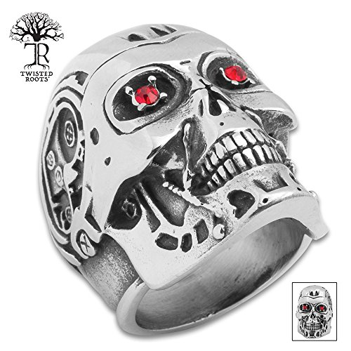 K EXCLUSIVE Twisted Roots Terminator Skull Ring - Size 10