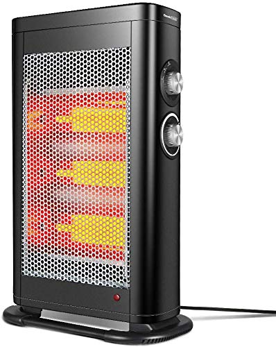 GEEK HEAT Infrared Convection Heater,1000W 1500W Electric Space Heater for Office Indoor Portable Safe Tower Radiant Quartz Heater with Adjustable Thermostat, Tip-Over, Overheat Protection