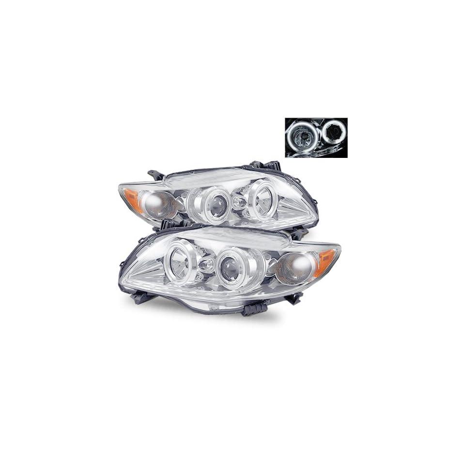 2009 2011 Toyota Corolla CCFL Halo Projector Headlights /w Amber (Chrome)