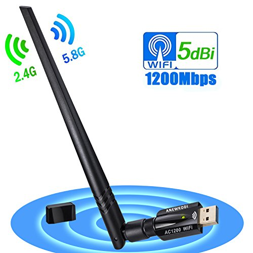 ANEWKODI AC1200Mbps USB Wifi Adapter, USB 3.0 Wireless Network Lan Card Wifi Dongle with 5dBi Antenna Dual Band Support PC/Desktop/Laptop/Tablet for Windows 10/8.1/8/7/Vista/Mac OS 10.9-10.13