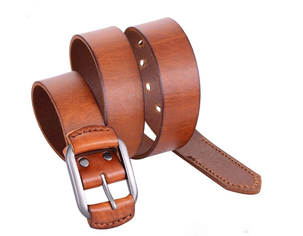 Simple Mens Genuine Leather Belt Fashion Bussiness Belt Square Buckle 4 Size