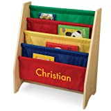 KidKraft Personalized Primary Sling Bookshelf with Yellow Block - Christian