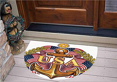 (3D Semicircle Floor Stickers Personalized Floor Wall Sticker Decals,American Flag Leaves and Star Force War Honor Medal,Kitchen Bathroom Tile Sticker Living Room Bedroom Kids Room Decor Art Mural D39.)