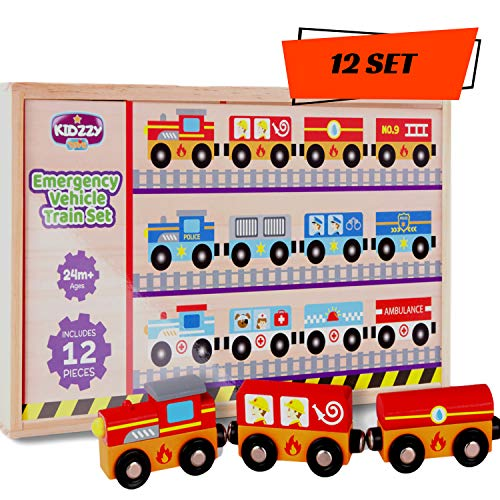 Wooden Train Set with Box and Cover (12 Set) Toys for 3 Year Old Boys and up Best Toy Gift for Kids Ages 3-5