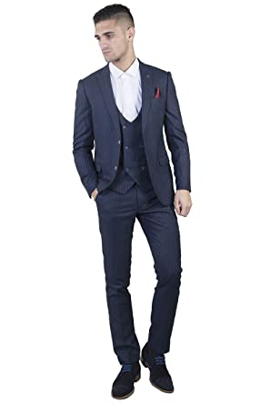 Marc Darcy Mens Lewis Navy Crepe Stripe Three Piece Suit with Red ...