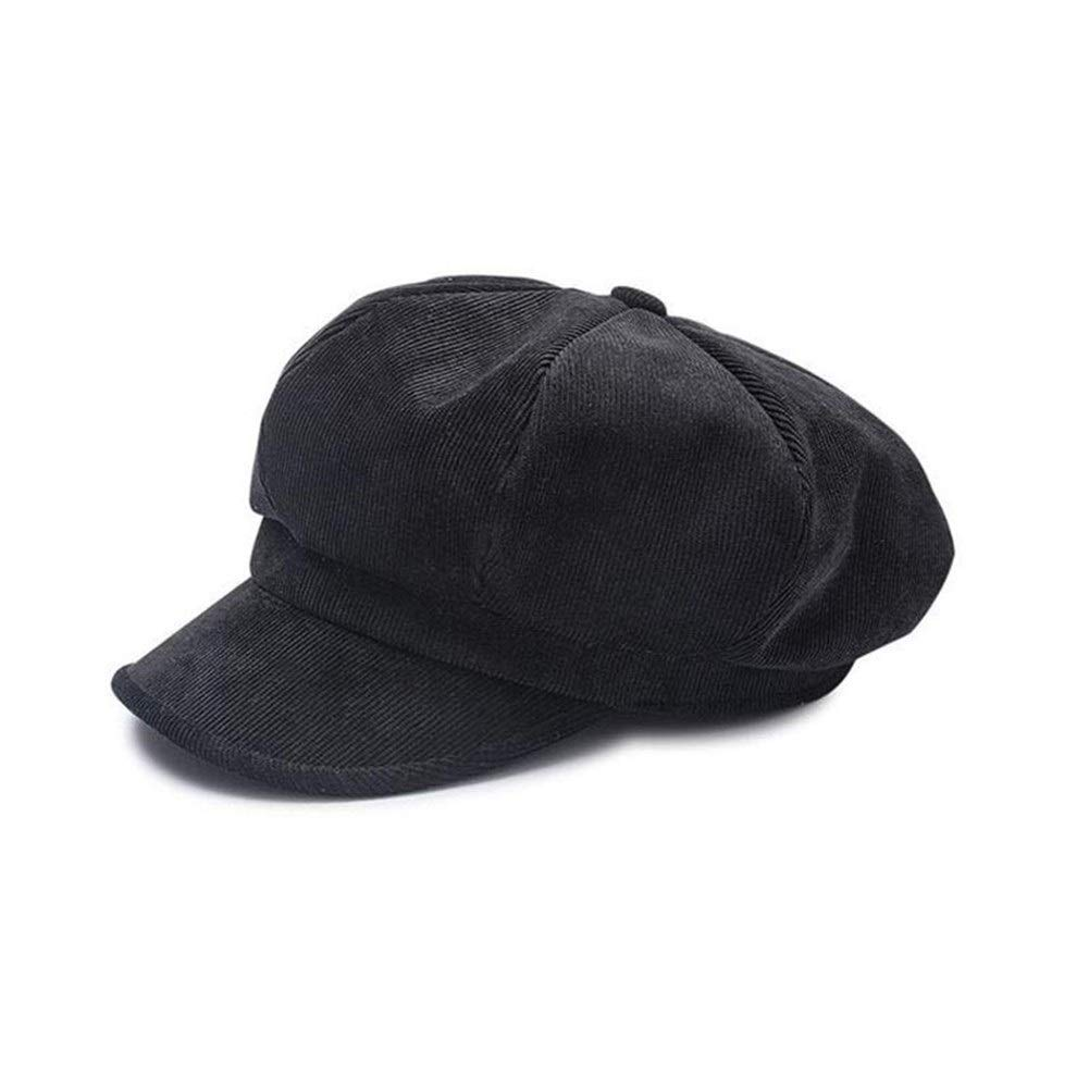 Unisex Octagonal Hat Women Winter Corduroy Fabric Men's Newsboy Cap Female Solid Color Hats For Men Berets (Color : Black, Size : M) by ERNANGUA