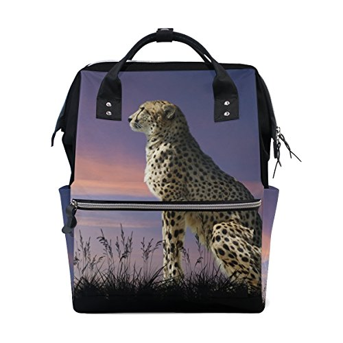 Large Capacity Backpack African Cheetah Durable Travel Mom Double-Shoulder Bag