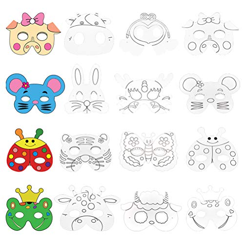Vankcp 16Pcs Children DIY Animal Mask Graffiti Blank Painting Paper Face Mask with Holes Elastic Cords for Party Supplies Kids