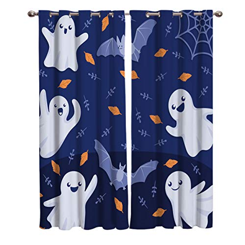 BABE MAPS 2 Panel Set Blackout Curtains Halloween Ghost and Bat Darkening Window Curtain Thermal Insulated Grommet Drape Panels for Living Room and Bedroom 52