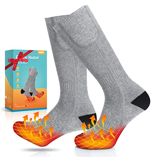 Jomst Upgraded Electric Heated Socks for Men Women, Rechargeable 3 Heating Settings Thermal Sock Winter Outdoor Novelty Foot Warmer, Fits US Size 6-14.