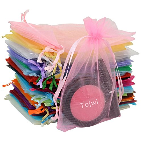 Tojwi 50pcs Organza Bags-Mix Color 3.54''x4.33''(9x11cm) Satin Drawstring