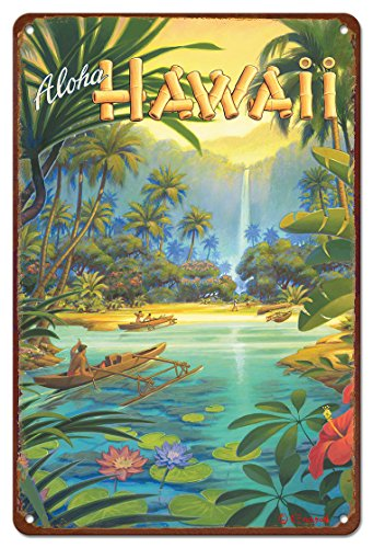 Hawaii Tin (Pacifica Island Art 8in x 12in Vintage Hawaiian Tin Sign - Aloha from Hawaii by Kerne Erickson)