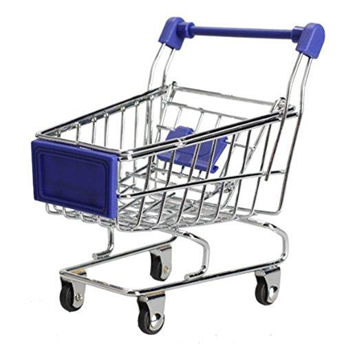 MagicW Mini Shopping Cart Supermarket Handcart Shopping Desktop Utility Cart Mode Storage Pen Cup Holder Desk Accessory Decoration Ornament Toys Blue for $<!--$6.99-->