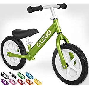Cruzee UltraLite Balance Bike (4.4 lbs) for Ages 1.5 to 5 Years | Best Sport Push Bicycle for 2, 3 & 4 Year Old Boys & Girls– Toddlers & Kids Skip Tricycles on the Lightest First Bike 1–Green