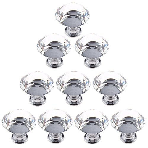 10 Pcs 20mm Glass Cabinet Knobs Drawer Pull Furniture Handle - 7