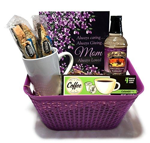 Coffee Tea Cocoa Mug Gift Set with Starbucks Via Coffee, Starbucks Hot Cocoa, Tazo Tea, Honey, Nonni's Biscotti + More -Lots of Cup Styles- (Deluxe - Purple Mom Coffee Basket) (Breakfast Themed Gift Baskets)