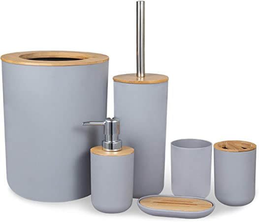 Misfox 6 Pieces Bamboo Bathroom Accessories Set Stylish Eco Friendly Bath Accessories Include Soap Dispenser Trash Bin 4l Toothbrush Holder Tooth Mug Toilet Brush Soap Dish Gray Amazon Co Uk Kitchen Home