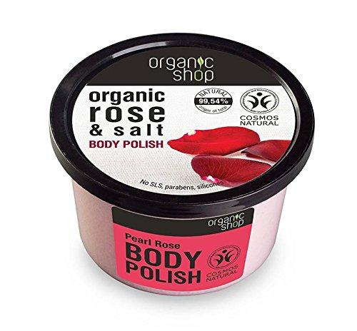 ORGANIC SHOP - Scrub Corpo Intensivo all'Acqua di Rosa Damascena - Rinnova la pelle - Straordinaria Morbidezza ed Elasticità - Naturale - 250 ml Yumi Bio Shop