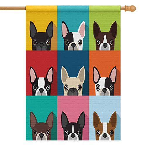 House Flag Terrier - InterestPrint Boston Terrier Long Polyester Garden Flag House Banner 28 x 40 inch Decorative Garden Flag Wedding Anniversary Outdoor Decor