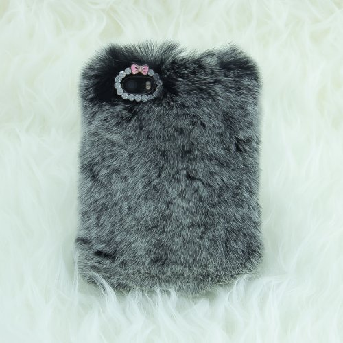 EpicGadget(TM) Luxury 3D Handmade Gray Stuffed Soft Case Cover For Apple iPhone 6 Plus [5.5] with HD iPhone 6 Plus Screen Protector (Pink Fluffy Fur C…