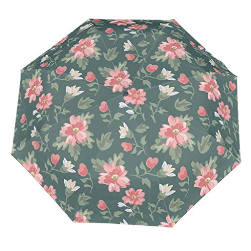 Flower Pattern Compact Travel Umbrella Cool Outdoor Sun&Rain Umbrella Sturdy Lightweight Dome Repel Umbrella With UV Protection