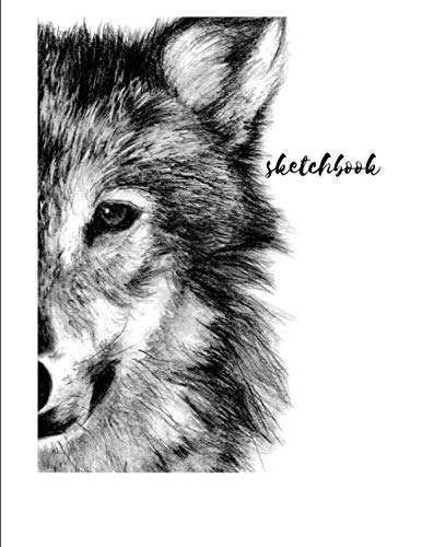 Sketchbook: A Cute Black Wolf Themed Personalized Artist
