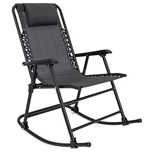 Best Choice Products Foldable Zero Gravity Rocking Patio Recliner Lounge Chair w/ Headrest Pillow - Black