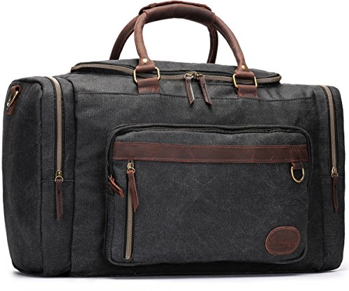 Canvas Duffel Bag, Aidonger Vintage Canvas Weekender Bag Travel Bag Sports Duffel with Shoulder Strap (Black-34) by Aidonger