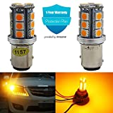 AMAZENAR 2-Pack 1157 BAY15D 7528 2057 2357 P21/5W Extremely Bright Amber / Yellow LED Light,Non-Polarity 10-30V-DC 5050 18 SMD Replacement Bulb For Turn Signal Light Tail Lamps