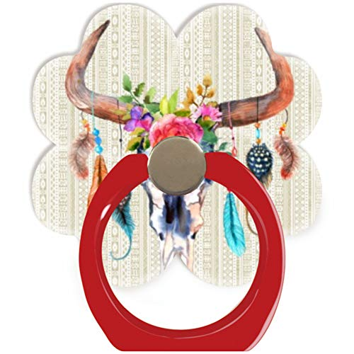 Blackpink Socket 360 Degree Rotation of Cell Phone Finger Holder Pop Grip Stand with Car Mount Hooks Works for All Smartphones and Tablets Beige Tribal and Bull Skull with Horns Red