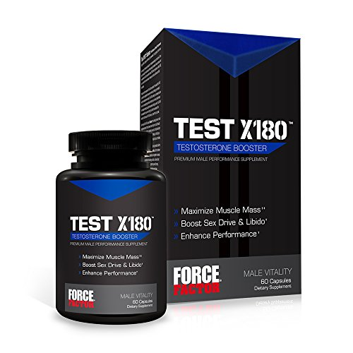 Test X180 Free Testosterone Booster with Testofen to Increase Free Testosterone, Build Lean Muscle, and Improve Performance, Force Factor, 60 Count