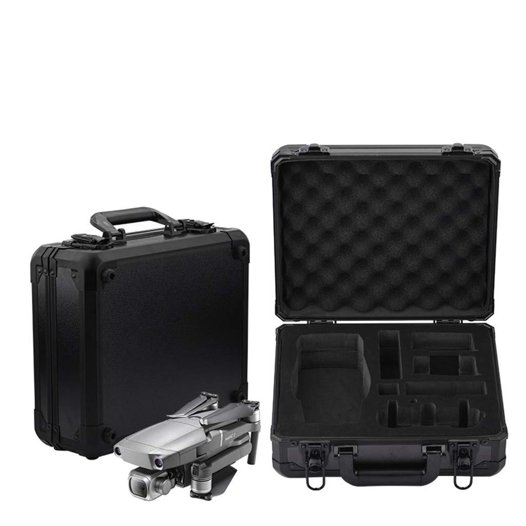 Hard Shell Carrying Case Bag Portable Aluminum Anti Fall Waterproof Protection Storage Box for DJI Mavic2, 33X28.5X11cm (Black)