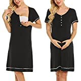 Ekouaer Women Nursing Nightgown,Maternity Gown,Labor Delivery Dress Hospital Pregnancy Breastfeeding Dress (Black M)