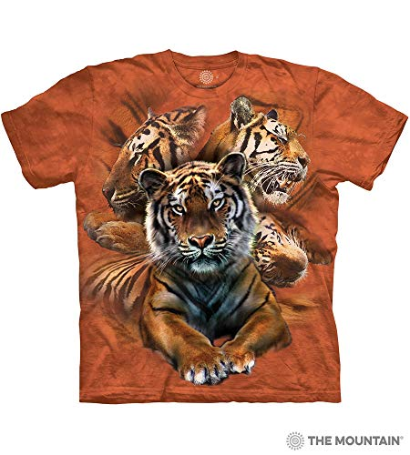 The Mountain Resting Tiger Collage Adult T-Shirt, Orange, Medium