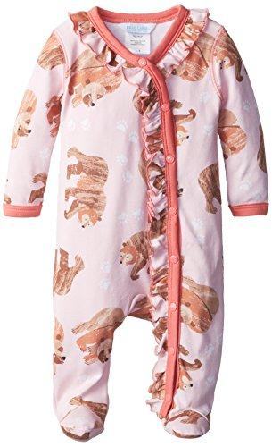 (Caterpillar & Friends Baby-Girls Newborn Brown Bear Footie Playsuit, Pink, 9-12 Months)