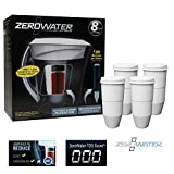 zerowater 4 pack - ZeroWater ZD-013 Filtration Pitcher with Electronic Tester + Replacement Filter 4-Pack