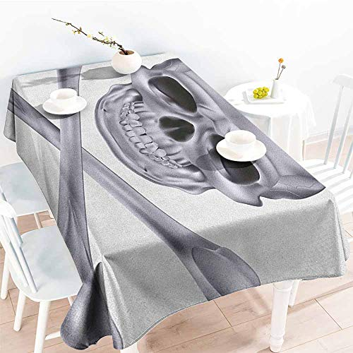 Willsd Tablecloth,Grey Vivid Skull and Crossed Bones Dangerous Scary Dead Skeleton Evil Face Halloween Theme,Party Decorations Table Cover Cloth,W60x84L -