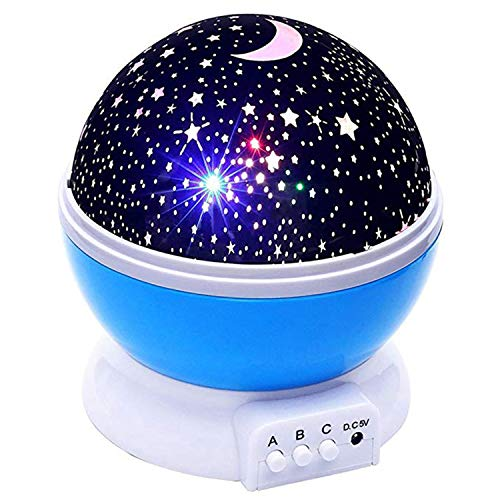 Night Lights for Kids,Starry Rotating Moon Stars Projector and 8 Color Options Romantic,USB Cable/Batteries Powered for Nursery, Bedroom,Party (Blue)