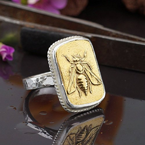 Sterling Silver 925k 2 Tone Bee Coin Ring Roman Art Handmade By Omer 24k Gold Vermeil
